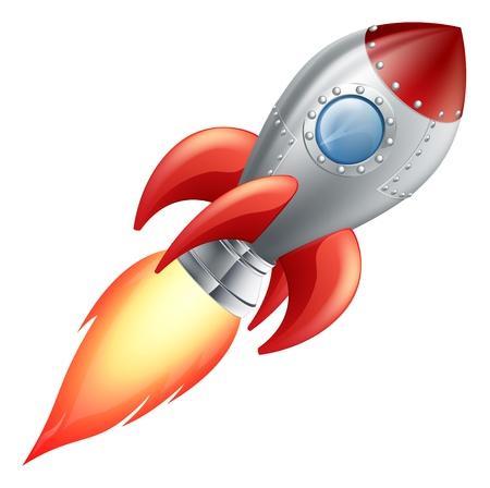 Ilustración de una nave espacial de dibujos animados lindo cohete Ilustración de vector