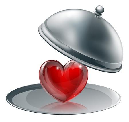 銀の大皿に心のイラスト。愛を与えるまたはおそらく料理の愛の概念