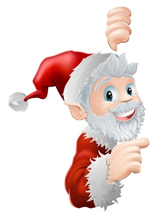 Cute cartoon Santa peeking round a sign or similar and showing or pointing at the information or image on it