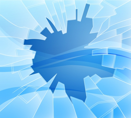 Een illustratie van een aantal gebroken of gebroken glas