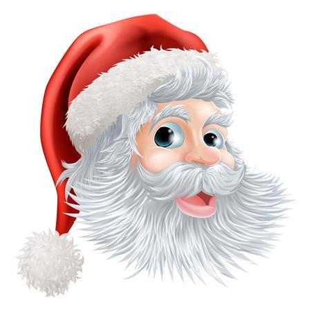 Illustration of a happy cartoon Christmas Santa face Vector Illustration