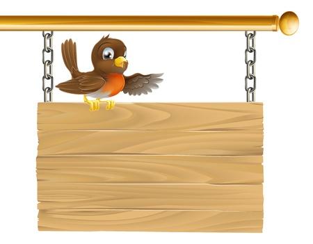 Un piccolo dolce seduta felice robin su un cartello di legno Vettoriali