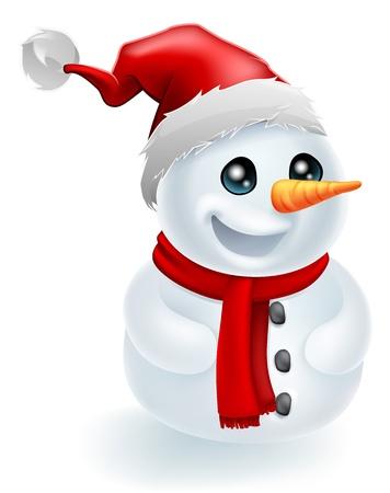 Bonhomme de neige de Noël porte un chapeau de Père Noël et foulard rouge