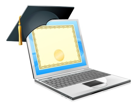 Conceito de educação portátil. Ilustração de um laptop com um tampão da placa de argamassa e certificado de diploma na tela. Conceito de ensino à distância, cursos de informática em TI ou outros temas de educação semelhantes.