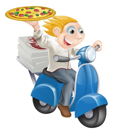 Graphic of a fast food pizza chef speeding along in his chef whites delivering pizza.