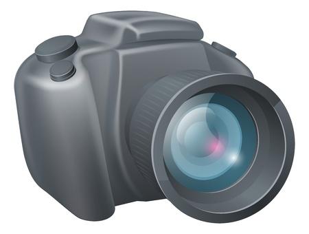 An illustration of a cartoon DSLR style camera Illustration