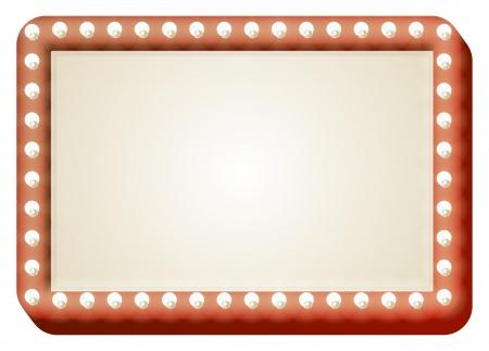 Illustration de panneau rouge avec copie espace et les ampoules entourent