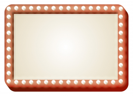 Illustration of red sign with copy space and light bulbs surround