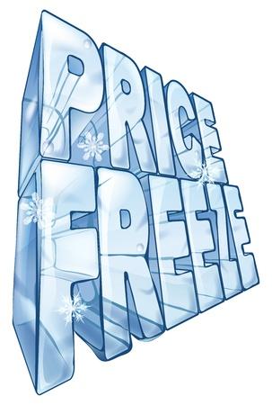 Illustration der Worte Preisstopp wie eine große gefrorene Eiswürfel, um einen Verkauf zu vermarkten. Mit Schneeflocken fallen im Vordergrund.