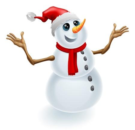 Een leuke vrolijke Kerst sneeuwpop dragen een Santa hoed en een sjaal Vector Illustratie
