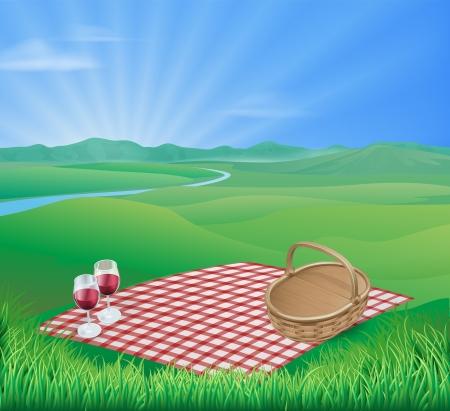 插图野餐在一个美丽的乡村景色与葡萄酒杯和柳条篮子