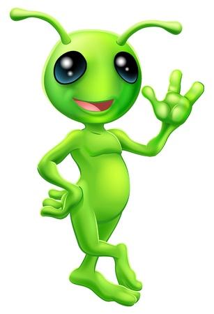 Ilustración de una historieta linda mascota pequeño hombre verde extraterrestre con antenas sonriendo y saludando