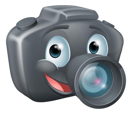 Illustrazione di un simpatico personaggio mascotte felice fotocamera DSLR con un grande sorriso Vettoriali