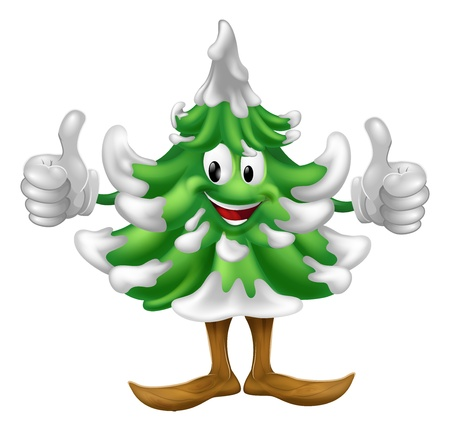 A happy Christmas tree cartoon mascot giving a thumbs up