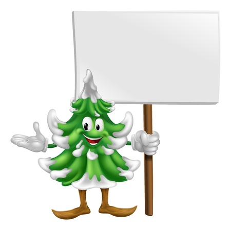 Illustration of a happy cartoon Christmas tree mascot holding a sign