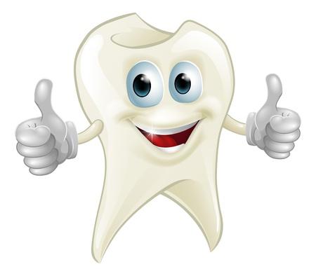 Ilustración de un personaje de mascota de diente sonriente haciendo un doble pulgar hacia arriba Ilustración de vector