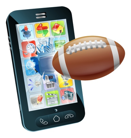 Illustration of an American football ball flying out of cell phone screen Stock Vector - 15423900