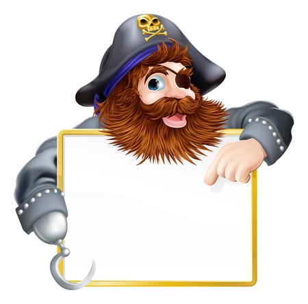 A happy pirate pointing at sign with a gold border or frame Vectores