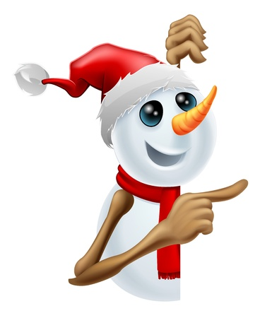 Happy cartoon snowman in a red Santa hat and scarf pointing