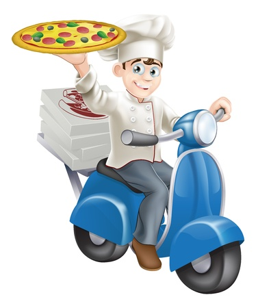 Una pizza elegantemente vestido chef en sus blancos cocinero entrega de pizza en su ciclomotor.
