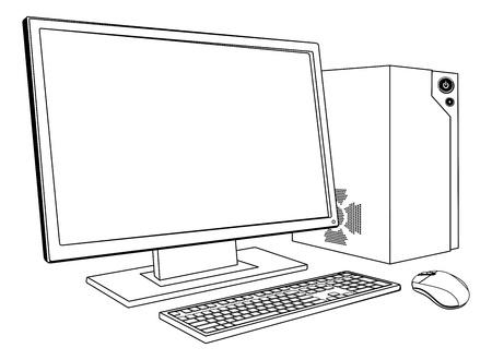 Een zwart-witte illustratie van desktop PC computer werkstation. Monitor, muis toetsenbord en tower
