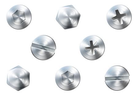 Een set van metalen glanzende schroeven en bouten voor het gebruik in uw ontwerpen