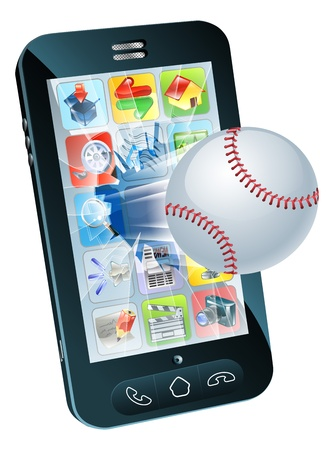 Illustration of a baseball ball flying out of a broken mobile phone screen Stock Vector - 15567710