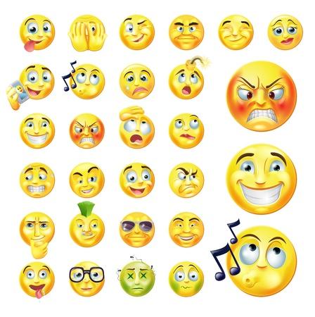 Een set van zeer originele emoticon of emoji iconen die veel reacties, persoonlijkheden en emoties Vector Illustratie