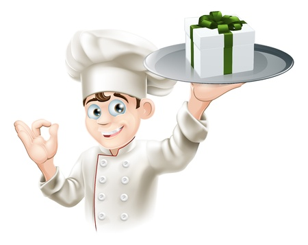 A chef with a gift on a platter. Could be concept for dining rewards or vouchers or gift card or other