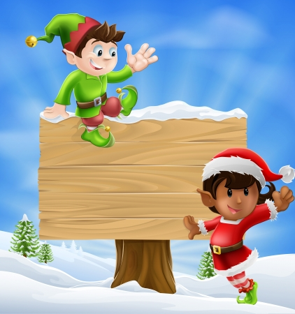 Seizoensgebonden cartoon van twee kerst elfen en een bord in de sneeuw met kerst bomen op de achtergrond.