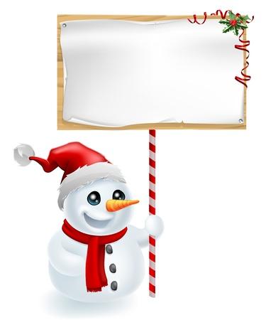 Een leuke Kerst sneeuwpop met Santa hoed bedrijf een kerst teken Vector Illustratie