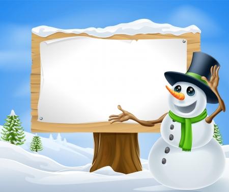 Un muñeco de nieve lindo de la historieta en escena de invierno Navidad con la muestra