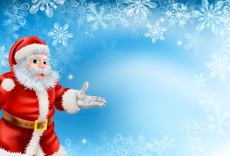 Illustration of beautiful Christmas blue snowflake background with Santa Claus