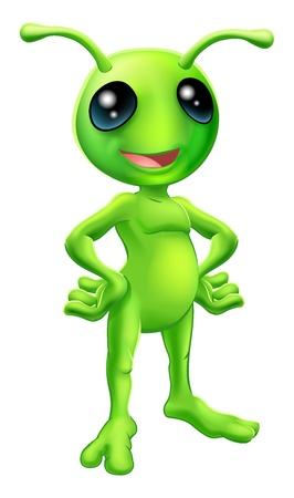Cartoon green  happy friendly alien standing with his hands on his hips Stock Vector - 15730789
