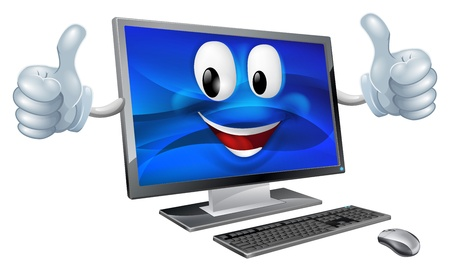A cute happy cartoon computer mascot character smiling and doing a thumbs up Ilustrace