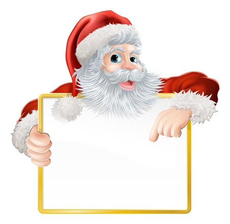Christmas illustration of Santa holding and pointing at a sign Illustration