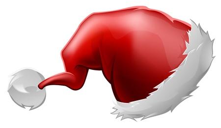 Ilustración de una caricatura rojo peludo sombrero de Papá Noel