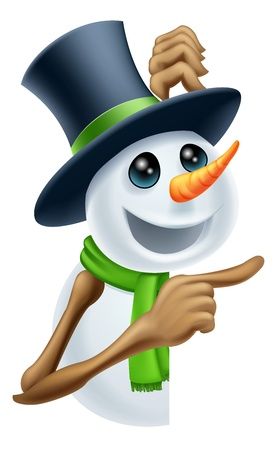 Een sneeuwman in een hoge hoed en groene sjaal wijzend op een kerstboodschap Vector Illustratie