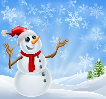 Bonhomme de neige debout dans un paysage d'hiver avec des flocons de neige et les arbres de Noël