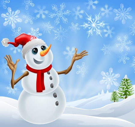 Christmas Snowman standing in a winter landscape with snowflakes and Christmas trees