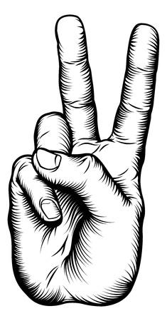 복고 목판 스타일 승리의 V 경례 또는 평화 손 기호의 그림