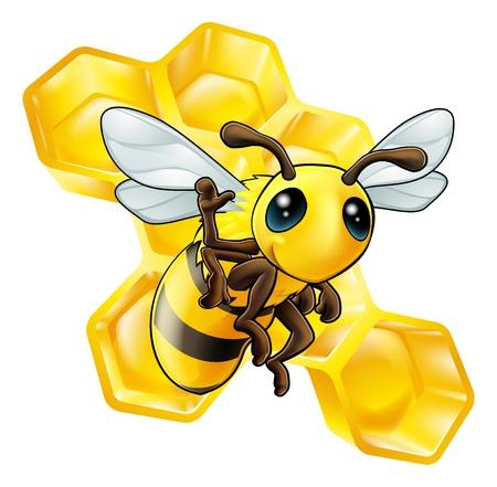 Eine nette Karikatur winken Biene mit einigen Waben im Hintergrund Standard-Bild - 15931159