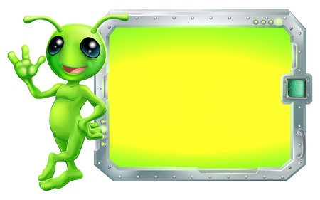 Een leuke groene alien met een bord of scherm met copyspace