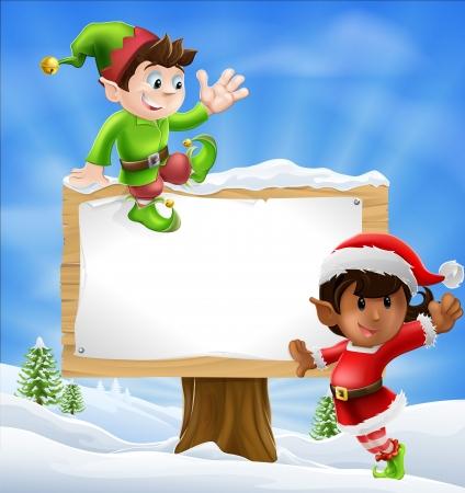Twee Santa's helper type Kerstmis tekens met een groot bord met copyspace Vector Illustratie