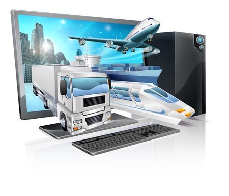 Una computadora de escritorio con camión, tren, avión, barco y salir de la pantalla. Logística de transporte o concepto de la entrega.