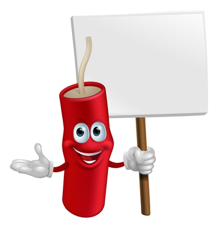 Cartoon happy smiling dynamite mascot holding a sign