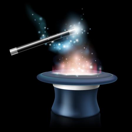 Tique chapeau magique et baguette magique avec la lumière bleue et les étoiles autour d'elle étant agité au-dessus d'un chapeau magique rougeoyante haut