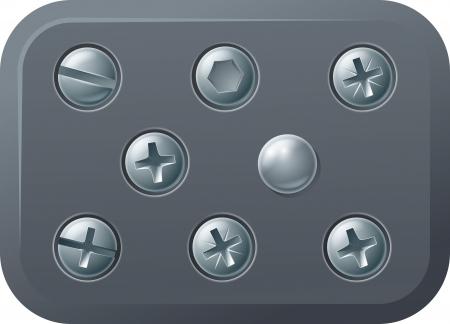 A set of metal shiny screw and bolt design elements