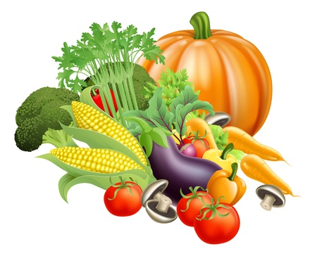 Illustration of produce assortment of healthy fresh vegetables