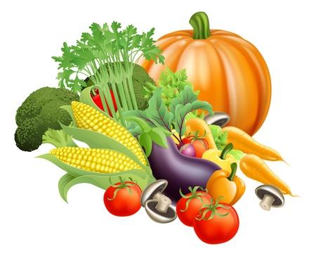 Ilustración de la variedad de productos saludables verduras frescas